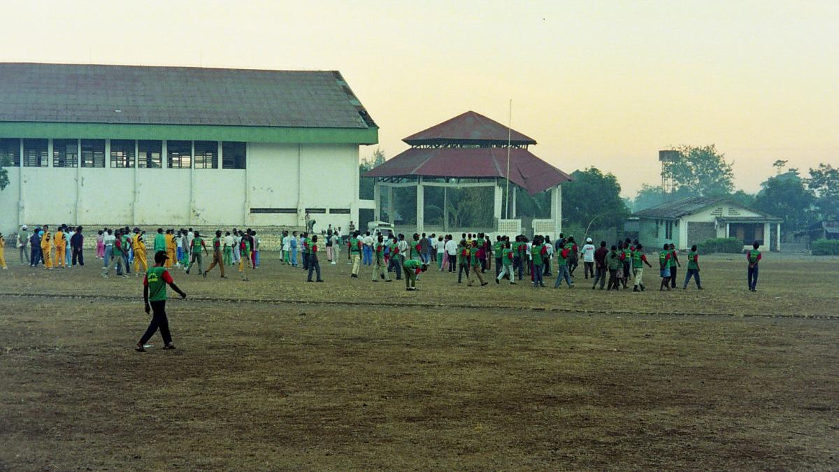 Children playing on a field.