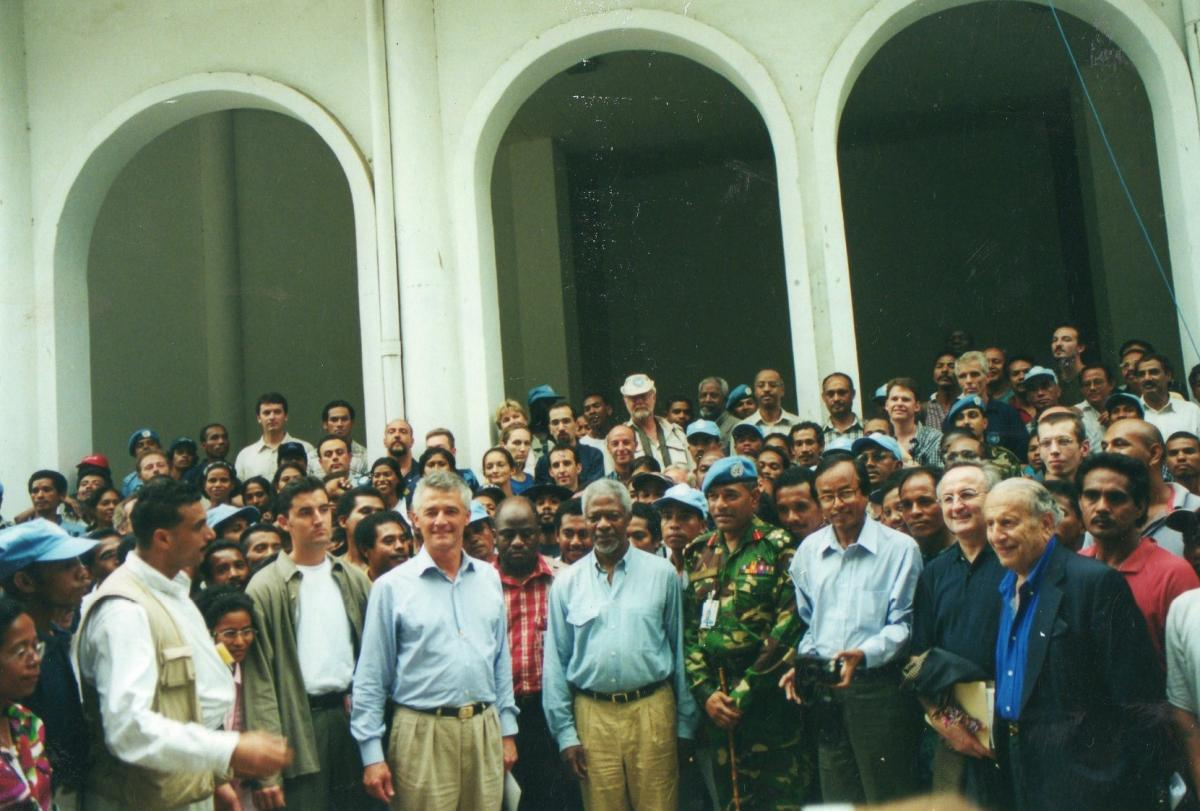 A crowd of people outside in East Timor.